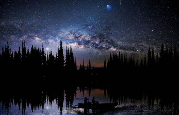 Art Print featuring the photograph Canoeing - Milky Way - Night Scene by Andrea Kollo