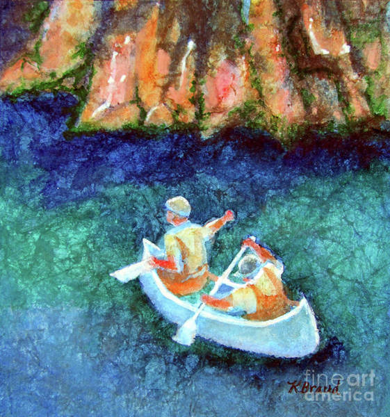 Wall Art - Painting - Canoeists In Shadow by Kathy Braud