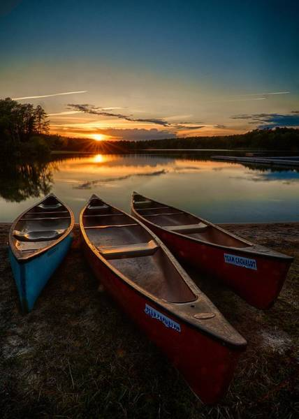 Cachalot Wall Art - Photograph - Canoes At Sunset by Dennis Wilkinson