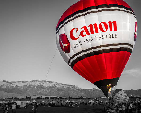 Photograph - Canon - See Impossible - Hot Air Balloon - Selective Color by Ron Pate