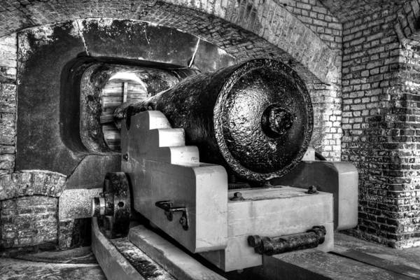 Low Battery Photograph - Canon Of Ft. Sumter Bw by Carol Montoya