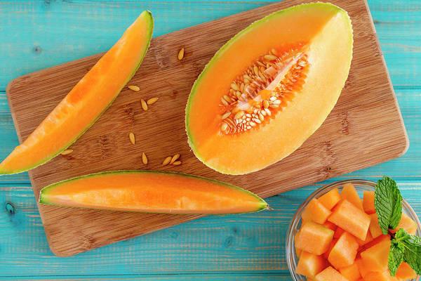 Water-melon Wall Art - Photograph - Cantaloupe Melon Slices by Teri Virbickis