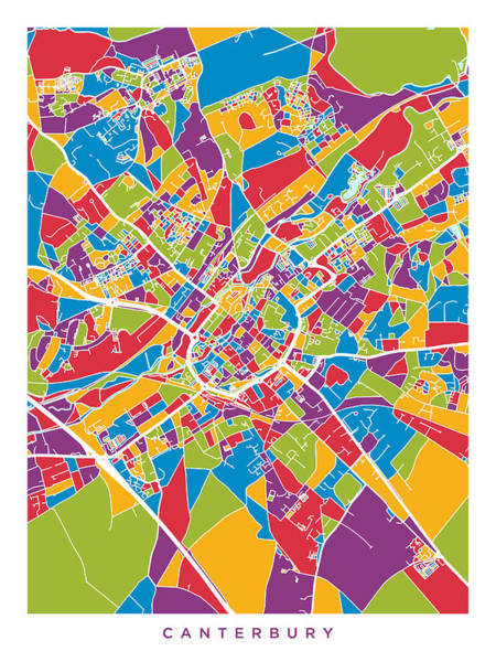 Wall Art - Digital Art - Canterbury England City Map by Michael Tompsett