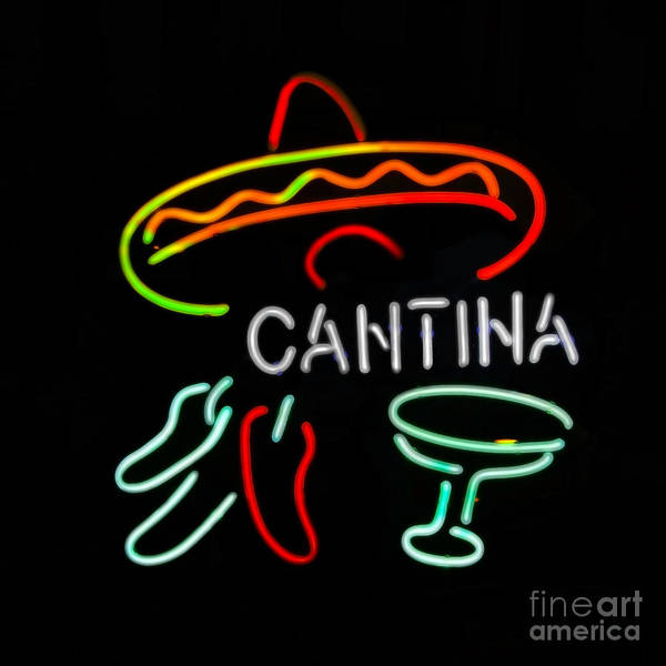 Cantina Photograph - Cantina Neon Sign by Catherine Sherman