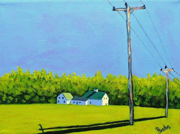 Utility Poles Painting - Canton Morning by Laurie Breton