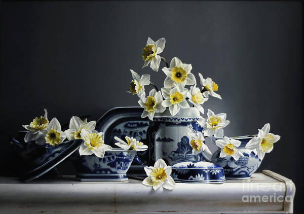 Daffodils Wall Art - Painting - Canton With Daffodils by Lawrence Preston