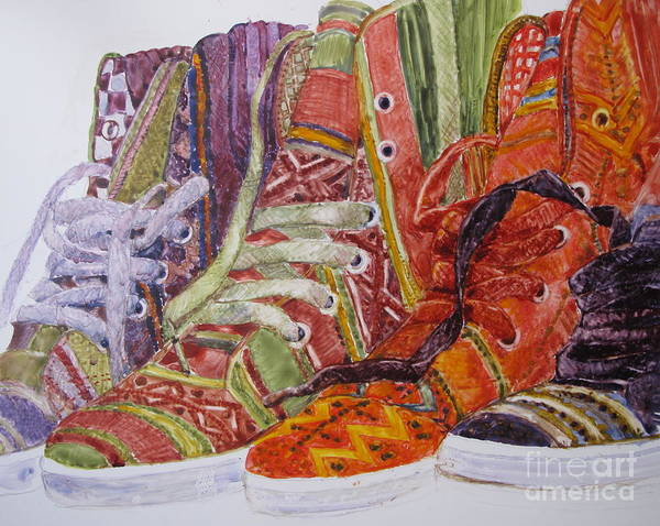 Sneakers Painting - Canvas  Hightops by Louise Peardon