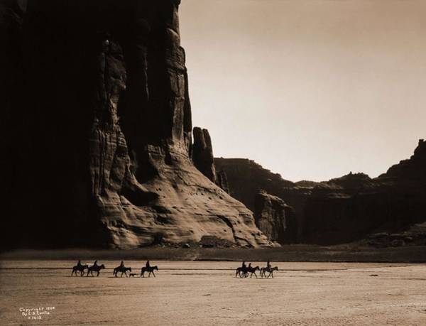 Native American Culture Painting - Canyon De Chelly  Navajo. Seven Riders On Horseback. Edward S. Curtis. Usa, 1900 by Edward S Curtis