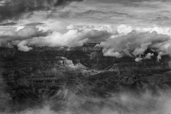 Photograph - Canyon In Clouds Bw by Belinda Greb