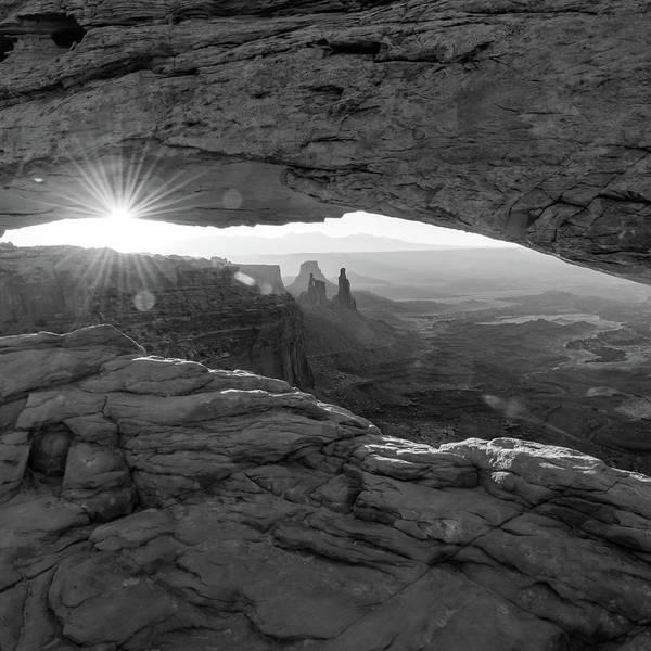Photograph - Canyon Light - Mesa Arch Monochrome 1x1 by Gregory Ballos