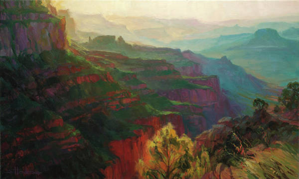 Layers Wall Art - Painting - Canyon Silhouettes by Steve Henderson