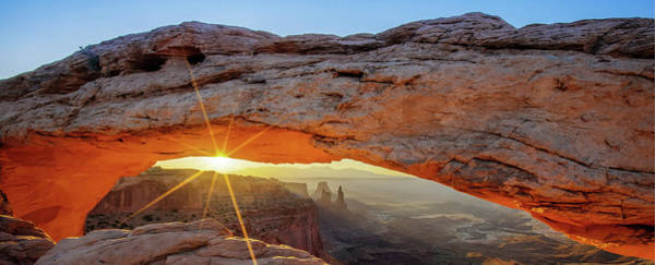 Photograph - Canyonlands Light Under Mesa Arch - Moab Utah Mountain Landscape Panorama by Gregory Ballos