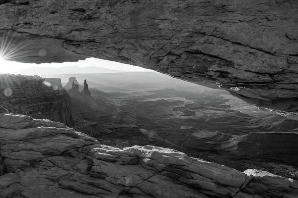 Photograph - Canyonlands Morning Landscape - Mesa Arch In Black And White by Gregory Ballos