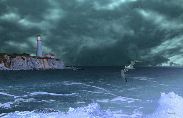 Wall Art - Digital Art - Cap-des-rosiers Lighthouse by M Spadecaller