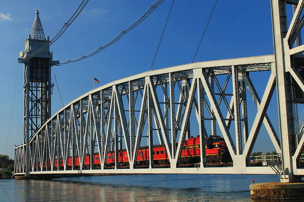 Cape Cod Photograph - Cape Cod Canal Railroad Bridge Train by John Burk