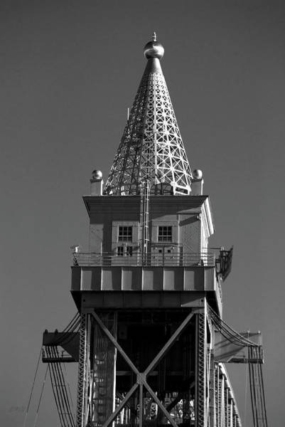 Photograph - Cape Cod Canal Rr Bridge Tower Bw by David Gordon
