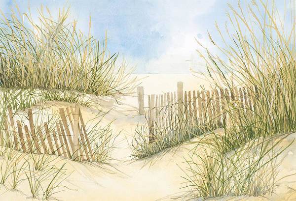 Sand Dune Painting - Cape Cod Dunes And Fence by Virginia McLaren