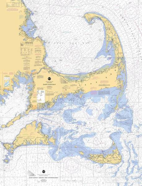 Digital Art - Cape Cod, Martha's Vineyard And Nantucket Nautical Chart by Paul and Janice Russell