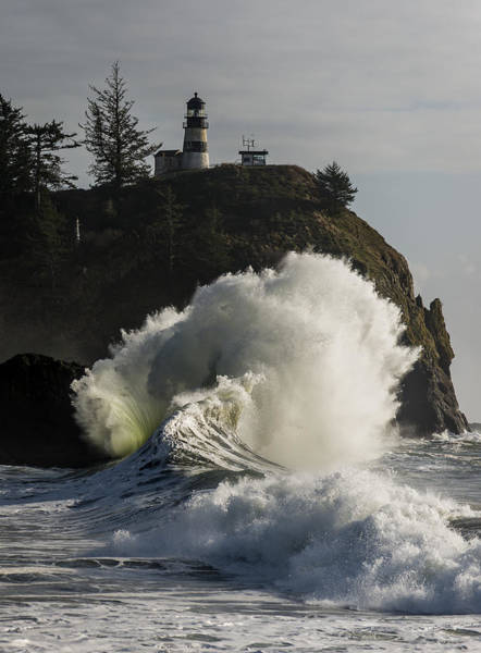 Photograph - Cape Disappointment Lighthouse And Surf by Robert Potts