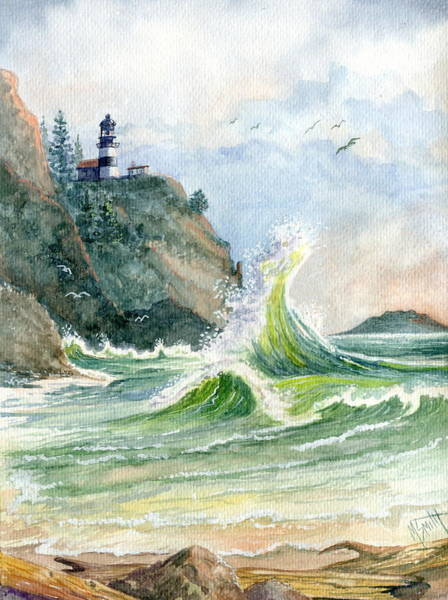 Smith Rock Painting - Cape Disappointment Lighthouse by Marilyn Smith