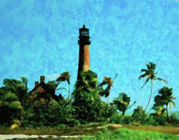 Brick House Mixed Media - Cape Florida Lighthouse by Florene Welebny