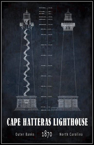 Lighthouses Digital Art - Cape Hatteras Lighthouse Blueprint by Daniel Hagerman