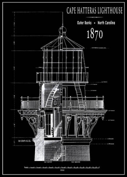 Atlantic Digital Art - Cape Hatteras Lighthouse Engineering Drawing 1869 by Daniel Hagerman