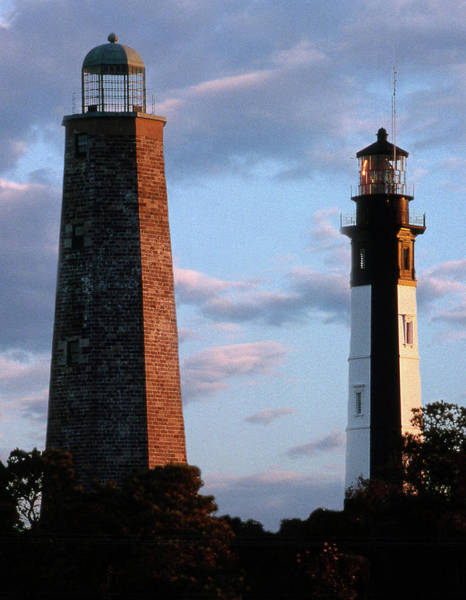 Virginia Lighthouse Photograph - Cape Henry Lighthouses In Virginia by Skip Willits