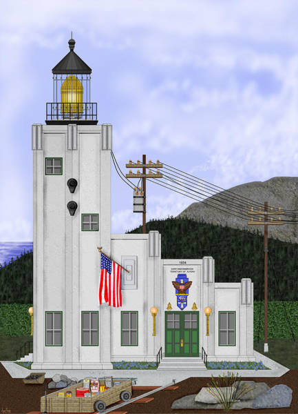 Wall Art - Painting - Cape Hinchinbrook Lighthouse In Alaska by Anne Norskog