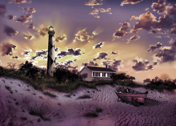 Wall Art - Painting - Cape Lookout Lighthouse by Bekim M