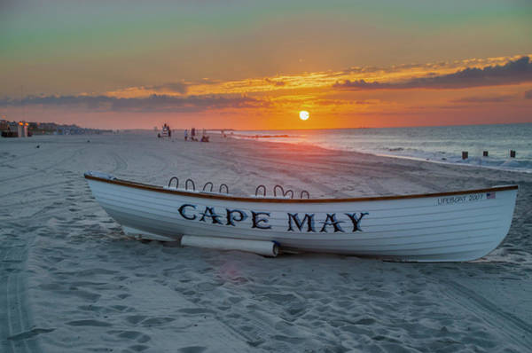 Photograph - Cape May Lifeboat - Sunrise by Bill Cannon
