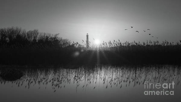 Cape May Lighthouse Photograph - Cape May Light Bw Panorama  by Michael Ver Sprill
