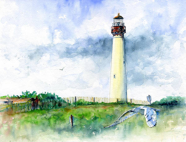 Cape May Painting - Cape May Lighthouse by John D Benson