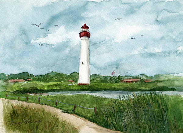 Cape May Painting - Cape May Lighthouse by Nancy Patterson