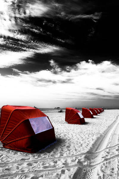 Photograph - Cape May Red Tents Fusion by John Rizzuto