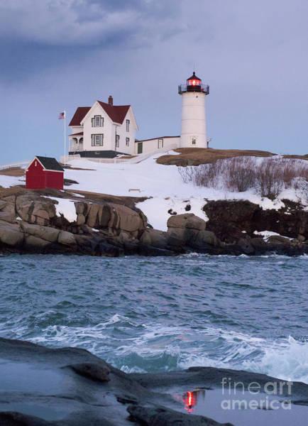 Photograph - Cape Neddick Light At Dusk, York, Maine 21073 by John Bald