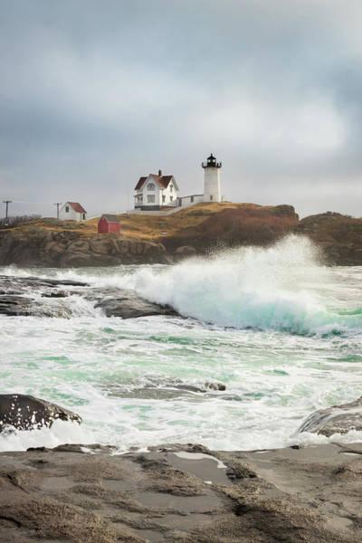 Photograph - Cape Neddick Lighthouse At High Tide by Kristen Wilkinson