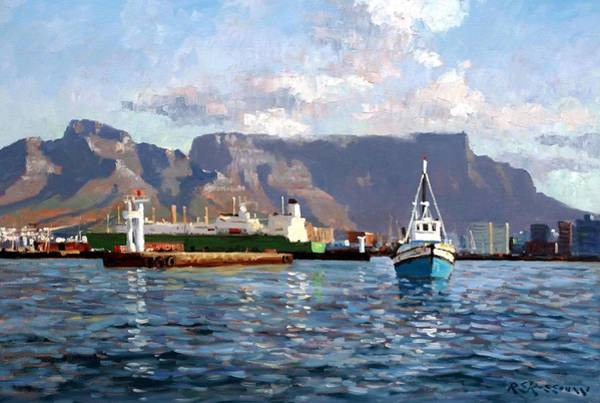 Table Mountain Wall Art - Painting - Cape Town Harbor Entrance by Roelof Rossouw
