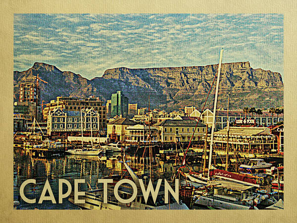 Old Town Digital Art - Cape Town Travel Poster by Flo Karp