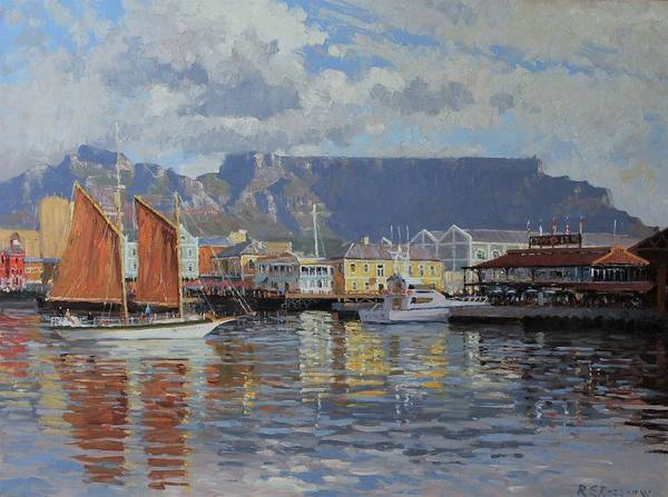 Table Mountain Wall Art - Painting - Cape Town Waterfront by Roelof Rossouw
