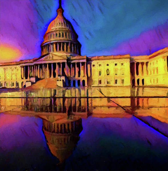 Wall Art - Painting - Capitol Building Reflection by Dan Sproul