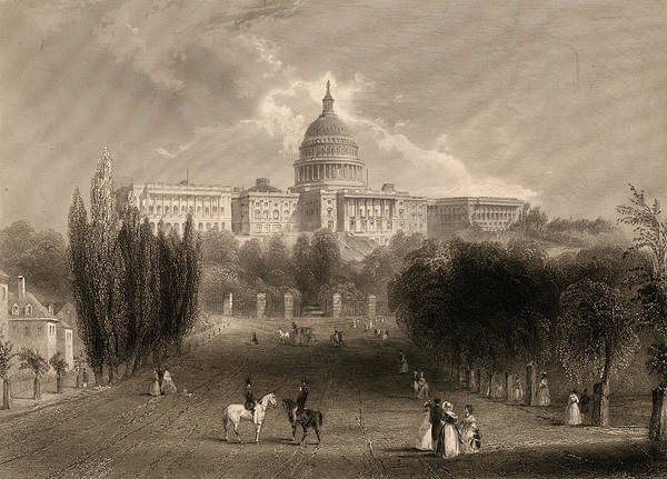 Wall Art - Painting - Capitol Of The Unites States, Washington D C by 19th Century