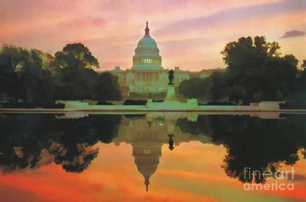 Digital Art - Capitol Sunset by D Hackett