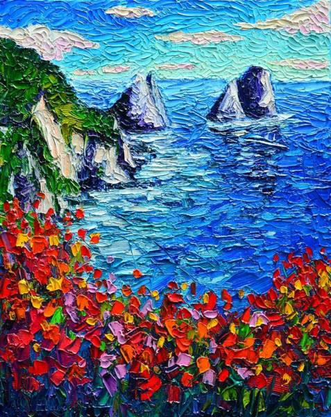 Painting - Capri Faraglioni 2 Italy Colors Modern Impressionist Palette Knife Oil Painting Ana Maria Edulescu  by Ana Maria Edulescu