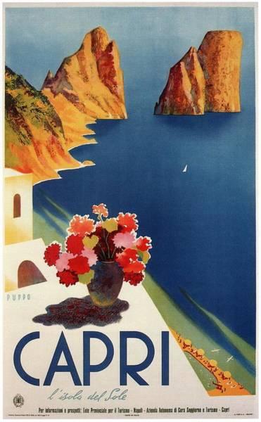 Office Decor Mixed Media - Capri Island, Bay Of Naples, Italy - Retro Travel Poster - Vintage Poster by Studio Grafiikka