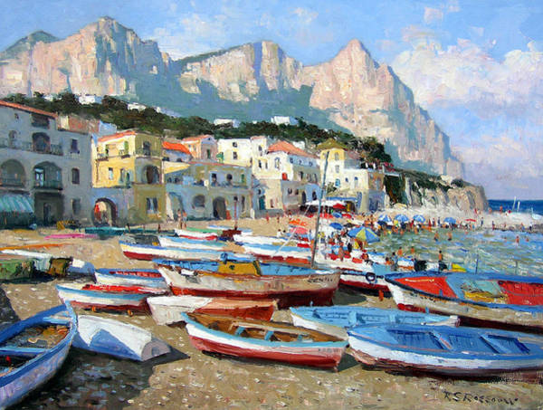 Fishing Boat Painting - Capri Sunshine by Roelof Rossouw