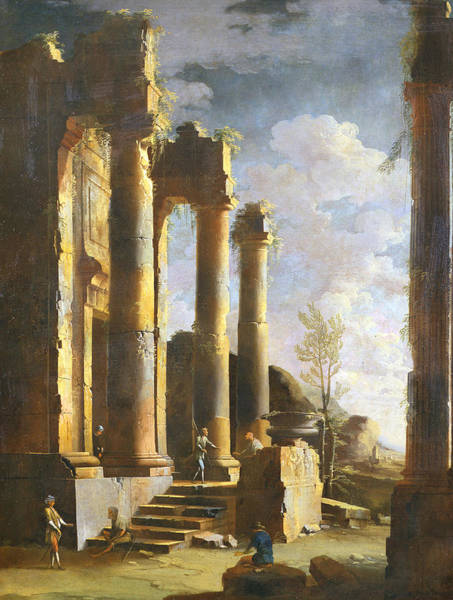 Italian Painters Wall Art - Painting - Capriccio With Ancient Ruins And Figure, Dawn by Leonardo Coccorante
