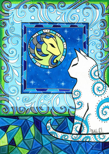 Capricorn Cat Zodiac Art Print