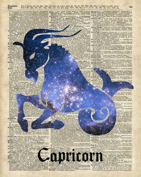 Wall Art - Digital Art - Capricorn Goat Horned - Zodiac Sign by Anna W