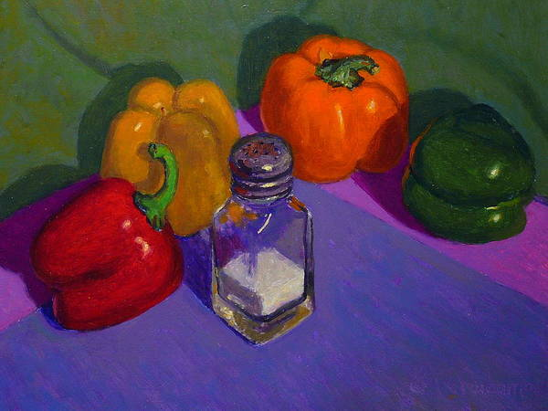 Nz.impressionist Painting - Capsicums And Salt by Terry Perham